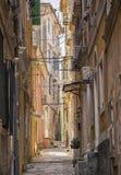 Alte Straßen, Korfu-Stadt Lizenzfreie Stockfotos