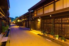 Alte Straßen-Nacht H Stadt-Takayama Kamisannomachi Stockbilder