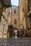 Alte Straßen und Gebäude in der alten Stadt von Jerusalem lizenzfreies stockfoto