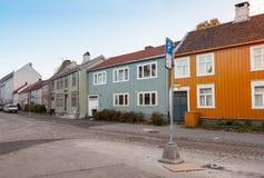 Alte Straßenansicht von Trondheim, Norwegen Stockfotografie