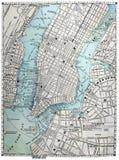 Alte Straßenkarte von New York City Lizenzfreie Stockfotos