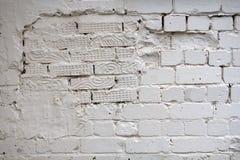 Alte Stuck-Weiß-Backsteinmauer Abstrakte Tünche Brickwall-Hintergrund-Beschaffenheit Weinlese-Netz-Fahnen-Breitbild für Design Stockbild