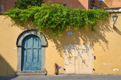 Alte Tür auf einer Wand in Toskana, Italien Lizenzfreies Stockfoto