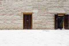 Alte Tür in der rustikalen Backsteinmauer Alte Backsteinmauer mit zwei Türen Lizenzfreie Stockfotos