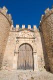 Alte Tür der Wand in Dorf Penaranda Des Duero Stockbild