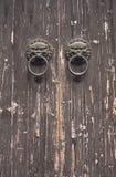 Alte Tür mit Klopfern Lizenzfreies Stockbild