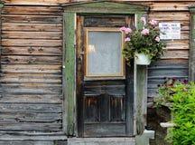 Alte Tür und rosa Blumen Stockbild
