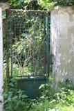 Alte Tür, verrostete Metalltür, Gittertür, Tür Stockfoto
