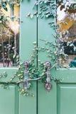 Alte Tür zugeschlossen mit Rebabdeckung die Tür Stockfoto