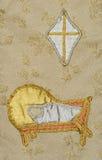 Alte Tapisserie gesticktes Kinderkrippestern-Geburt Christi Stockfotos