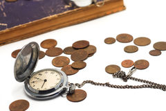 Alte Taschenuhr auf einer Kette Lizenzfreies Stockbild