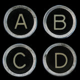 Alte Tasten der Schreibmaschine A B C D Lizenzfreie Stockbilder