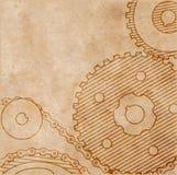 Alte technische Zeichnung von Gängen auf Papier in der Schmutzart Stockbild