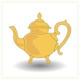 Alte Teekannengelbfarbe auf einem weißen Hintergrund Stockfotos