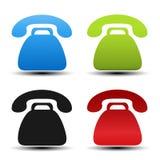 Alte Telefonsymbole auf weißem Hintergrund Kontaktknöpfe, Aufkleber in der blauen, grünen, schwarzen und roten Farbe Einfache Tel Stockfotos