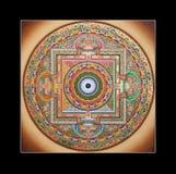 Alte tibetanische tangka Ohm-Mandala Lizenzfreie Stockfotografie