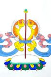 Alte tibetanische Wandanstrichkunst Stockfoto