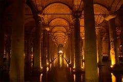 Alte Tiefbehälter Lymphraum-Basilika Istanbul, die Türkei Stockfotos