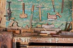 Alte Tischler ` s Werkstatt Stockfoto