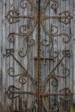 Alte Tür mit Eisendekoration Stockfotos