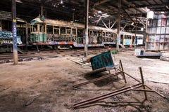 Alte Tram-Halle stockfoto