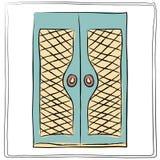 Alte Türikone, lokalisierter Illustrationsvektor Schließen Sie herauf Holztür Stockfoto