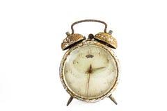 Alte Uhr des Schmutzes im Isolathintergrund Stockfotos