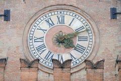 Alte Uhr von Palazzo d Accursio Palazzo Comunale im Bologna Lizenzfreie Stockfotografie