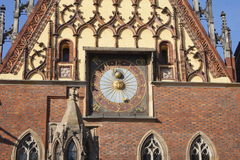 Alte Uhr WrocÅ-'Aw (Breslau) Stadt Stockfoto