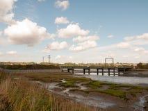Alte unbenutzte Brücke im Abstand über Mündungsstrom countrysi Lizenzfreie Stockfotografie