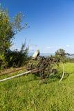 Alte unbenutzte landwirtschaftliche Maschine, die auf grünem Gras steht Stockfoto