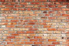 Alte und abgedroschene Backsteinmauer der roten Farbe Stockbild