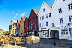 Alte und berühmte Stadt Bergens - in Norwegen Stockbilder