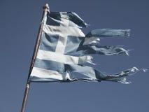Alte und heftige Flagge von Griechenland Stockbilder