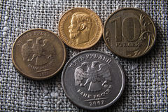 Alte und neue Rubel Lizenzfreie Stockfotografie