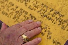 Alte und schmutzige Blindenschrift Lizenzfreies Stockfoto