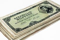 Alte ungarische Hunderte von Millionen pengo Währung lokalisiert Lizenzfreies Stockfoto