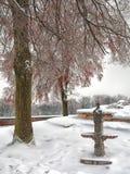 Alte untätige Wasserpumpe im schneebedeckten Stadtpark Stockbild