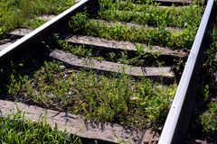 Alte veraltete Eisenbahnlinien und Gras Stockbilder