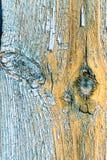 Alte verblaßte blaue Farbe auf gealterter Holzoberfläche Stockfotos