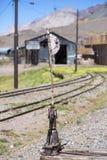 Alte verlassene Bahnstation, Grenze mit Argentinien und Chile Stockfoto