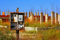 Alte verlassene Baustelle Stockfotos