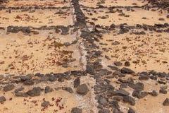 Alte, verlassene Salz bassins auf Lanzarote, Spanien stockfotografie