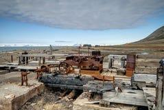 Alte verrostete minig Ausrüstung, Svalbard Stockfoto