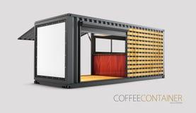Alte Versandverpackung wird in eine schicke Kaffeestube, Illustration 3d umgewandelt Lizenzfreie Stockbilder