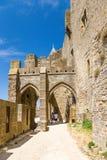Alte Verstärkung in der mittelalterlichen Festung von Carcassonne, Frankreich Lizenzfreie Stockbilder
