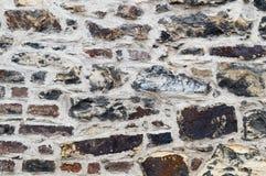 Alte verwitterte Backsteinmauerbeschaffenheit, Hintergrund, Nahaufnahme Lizenzfreies Stockfoto