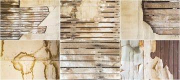 Alte verwitterte befleckte Hintergrundcollage der Lattengipswand Lizenzfreies Stockbild