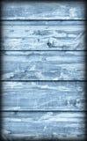 Alte verwitterte gebrochene flockige blaue hölzerne lamellierte Block-Brett Platte Vignetted-Schmutz-Beschaffenheit Lizenzfreie Stockbilder
