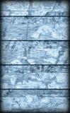 Alte verwitterte gebrochene flockige blaue hölzerne lamellierte Block-Brett Platte Vignetted-Schmutz-Beschaffenheit Lizenzfreies Stockfoto